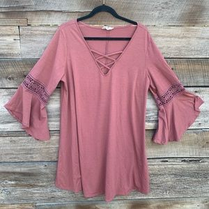 Plus Size 2X Blush Pink Dress with Bell Sleeves